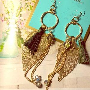 Gold leaf & green tassel earrings NWT